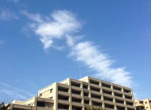 大雨台風18号一過の東京の秋の空、雲